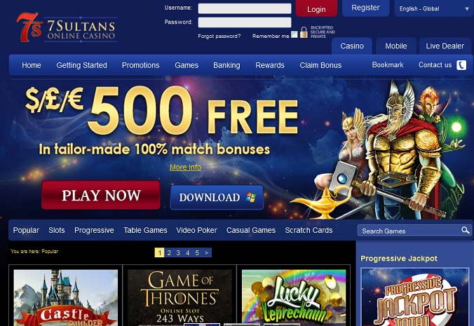 25 Free Spins at 7 Sultans Casino